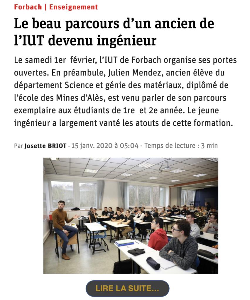 Julien Mendez    Le beau parcours d'un ancien de l'IUT devenu ingénieur